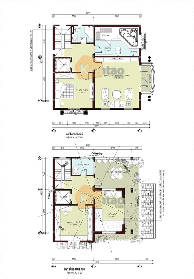 Mẫu thiết kế biệt thự lô góc 4 tầng tại Nam Định - Mặt bằng
