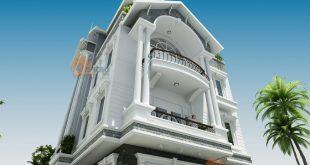 Mẫu thiết kế biệt thự lô góc 4 tầng tại Nam Định - Phối cảnh 2
