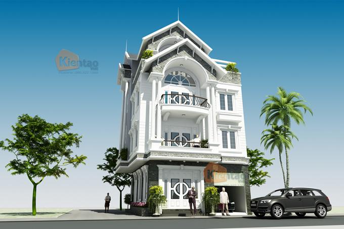 Mẫu thiết kế biệt thự lô góc 4 tầng tại Nam Định - Phối cảnh 3