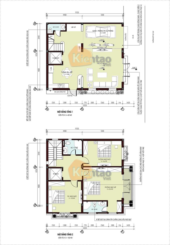 Mẫu thiết kế biệt thự lô góc 4 tầng tại Nam Định - Mặt bằng tầng 1+2