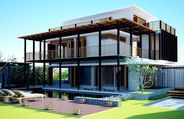 Mẫu thiết kế biệt thự hiện đại với mái bằng - 1