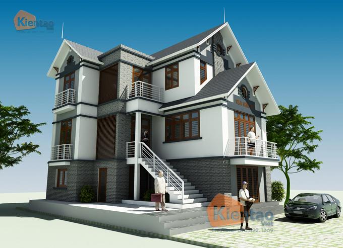 Mẫu thiết kế biệt thự 3 tầng mái dốc