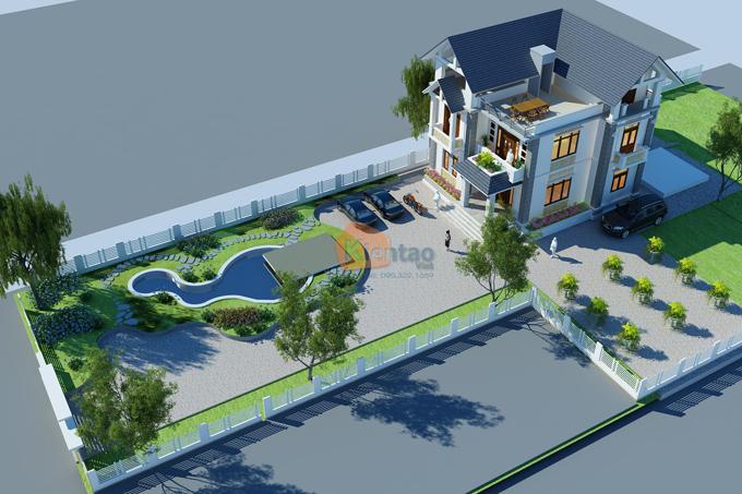 Phối cảnh thiết kế cải tạo biệt thự 3 tầng theo lối cách tân.01