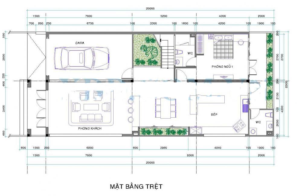 Thiết kế biệt thự 2 tầng đẹp hiện đại 8,5x26m. 1