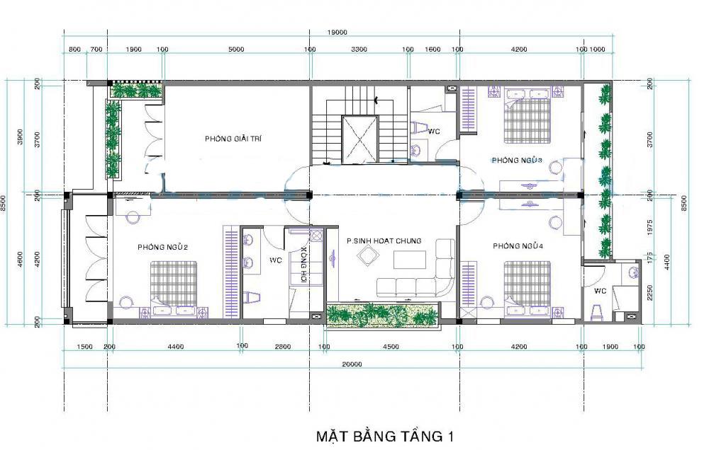 Thiết kế biệt thự 2 tầng đẹp hiện đại 8,5x26m. 2