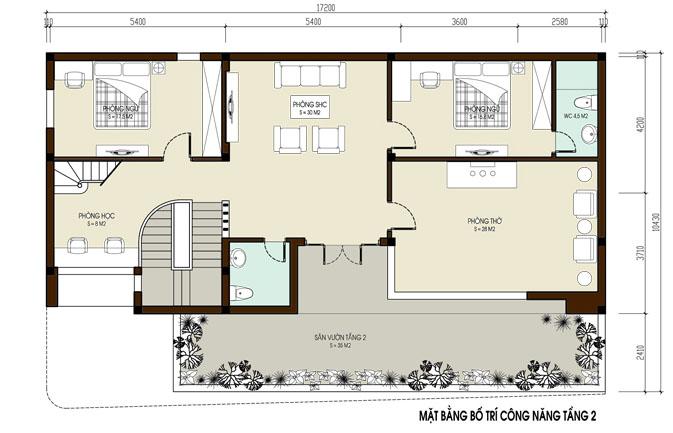 Biệt thự đẹp 2 tầng 1 tum hiện đại - Ảnh mặt bằng tầng 2