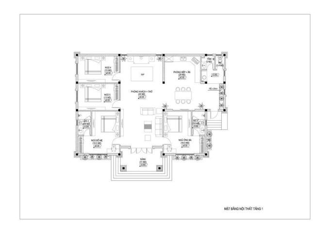 Biệt thự 1 tầng mái thái - mặt bằng công năng
