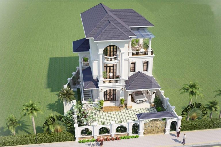 Biệt thự 3 tầng đẹp kiểu Pháp - Phối cảnh 3