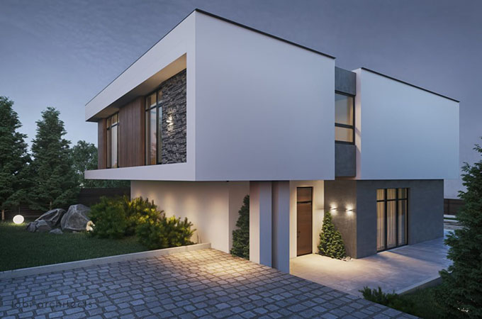 Mặt góc - Mẫu thiết kế biệt thự 2 tầng hiện đại