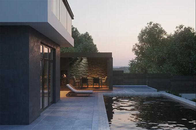 Bể bơi - Mẫu thiết kế biệt thự 2 tầng hiện đại