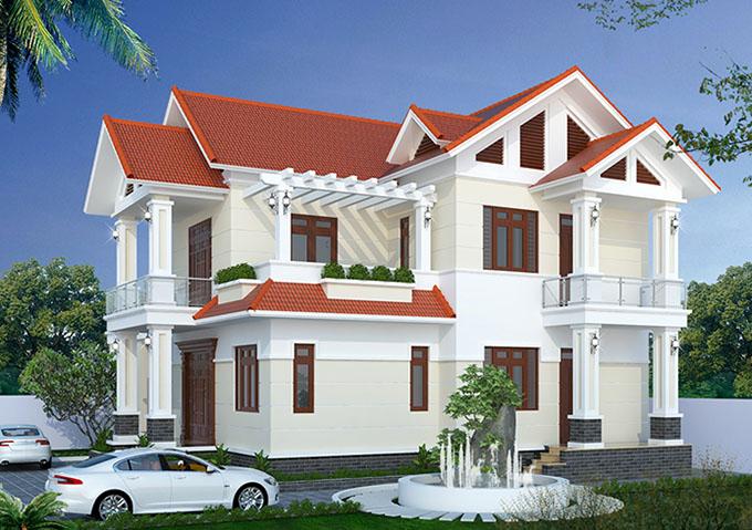 Mặt bên - Mẫu thiết kế biệt thự 2 tầng mái thái