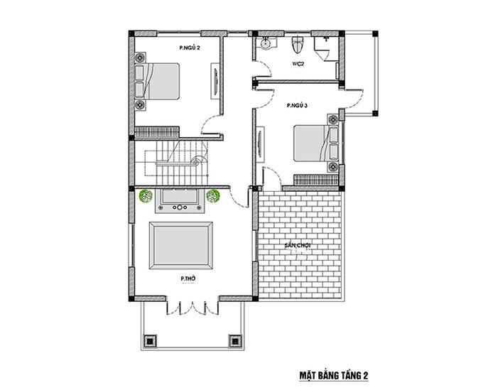 Mặt bằng tầng 2 thiết kế biệt thự 2 tầng mái thái
