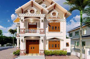 Mẫu thiết kế biệt thự 2 tầng tân cổ điển 2 mặt tiền mái thái