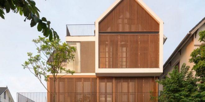 Biệt thự 3 tầng mặt tiền hệ lam gỗ 1