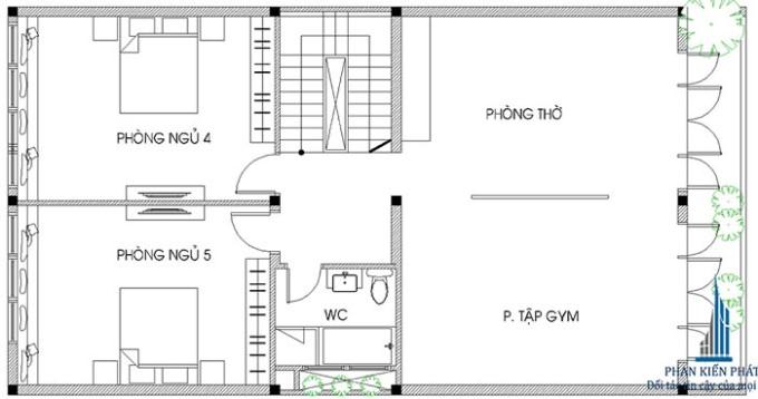 Biệt thự 4 tầng 8m mặt tiền - công năng tầng 3