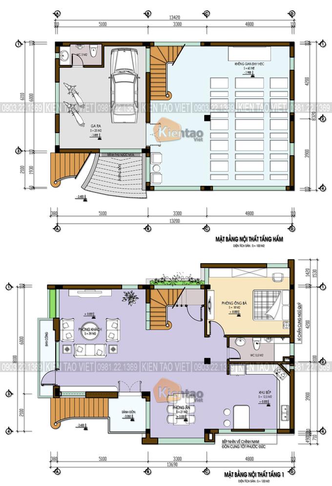 Mặt bằng tầng 1+2 – Biệt thự 4 tầng mái Thái.