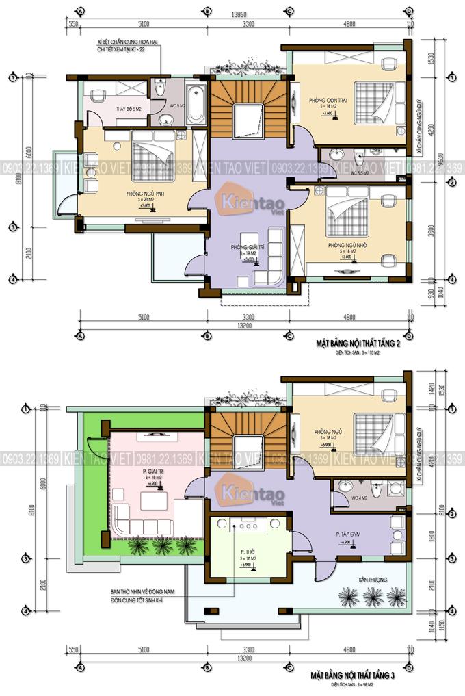 Mặt bằng tầng 3+4 – Biệt thự 4 tầng mái Thái.