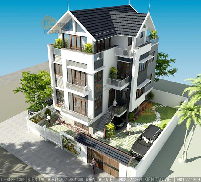 Phối cảnh kiến trúc góc 03 – Biệt thự 4 tầng mái Thái