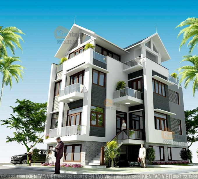 Phối cảnh kiến trúc góc 01 – Mẫu biệt thự mái Thái hiện đại 4 tầng 6.1x13.4m