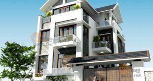 Phối cảnh kiến trúc góc 02 – Biệt thự 4 tầng mái Thái