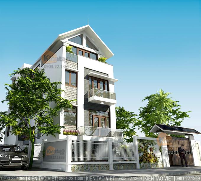 Phối cảnh kiến trúc góc 04 – Biệt thự 4 tầng mái Thái