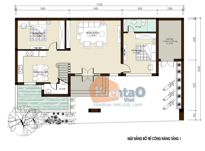 Biệt thự đẹp 2 tầng 1 tum hiện đại - Ảnh mặt bằng tầng 1