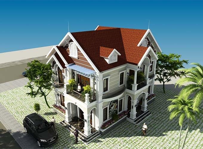 Góc trên cao - Thiết kế biệt thự tân cổ điển 2 tầng đẹp