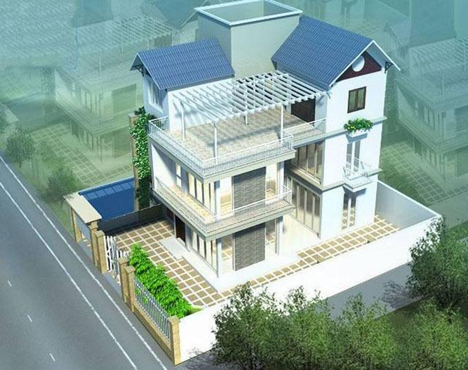 Góc 1-Biệt thự hiện đại 3 tầng 90m2.