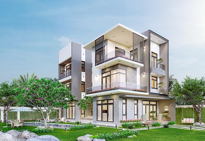 Góc 1-Mẫu thiết kế biệt thự vườn 3 tầng đẹp.