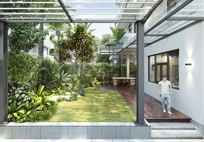 Góc 2-Mẫu thiết kế biệt thự vườn 3 tầng đẹp.