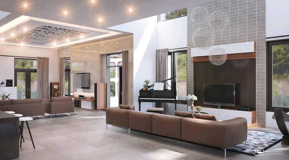 Không gian phòng khách - Mẫu thiết kế biệt thự vườn 2 tầng
