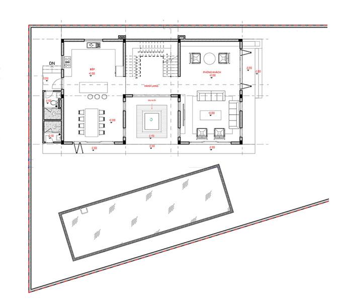 Mặt bằng tầng 1-Mẫu thiết kế biệt thự vườn 3 tầng đẹp.
