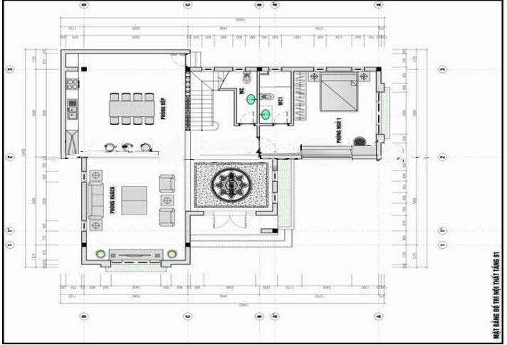 Mặt bằng tầng 1- Mẫu biệt thự phố đẹp 3 tầng bán cổ điển 11x14m