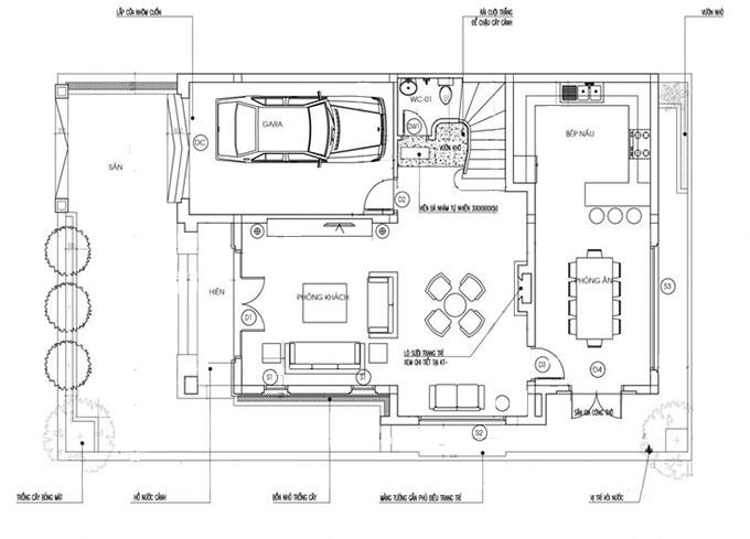 Mặt bằng tầng 1-Mẫu thiết kế biệt thự mặt tiền 10m.