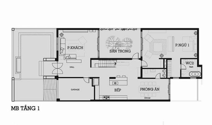 Mẫu thiết kế biệt thự đẹp 2 tầng 9x25m.1