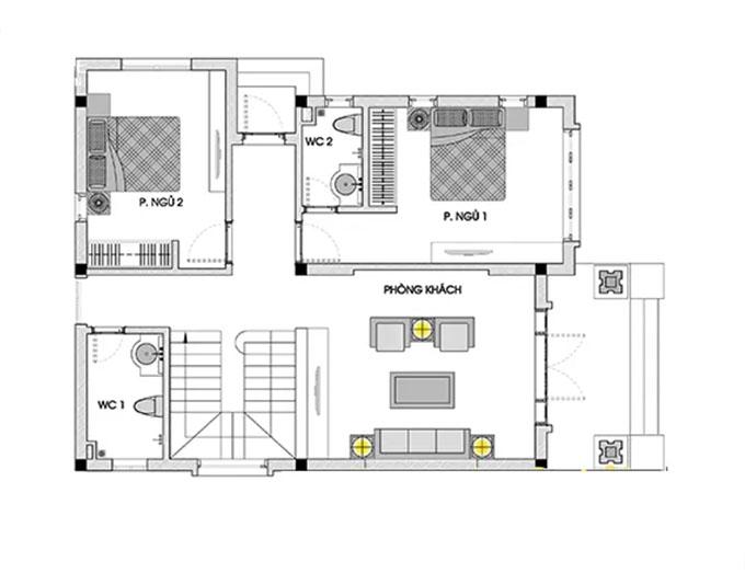 Mặt bằng tầng 1 mẫu thiết kế biệt thự mái thái 3 tầng.