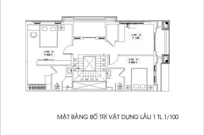 Mặt bằng tầng 2-Mẫu thiết kế biệt thự 3 tầng mặt tiền 8m.