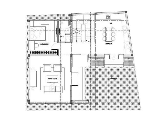 Mặt bằng tầng 1-Mẫu thiết kế biệt thự 3 tầng chữ L.