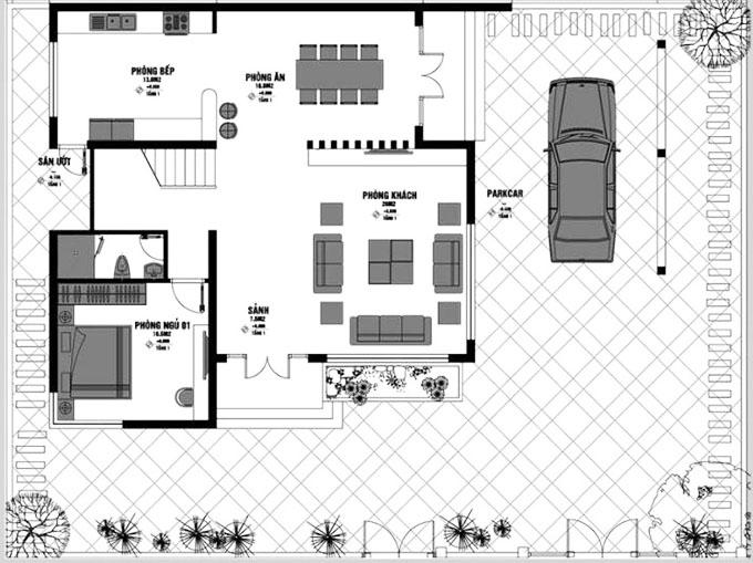 mặt bằng tầng 1 biệt thự 2 tầng 3 phòng ngủ