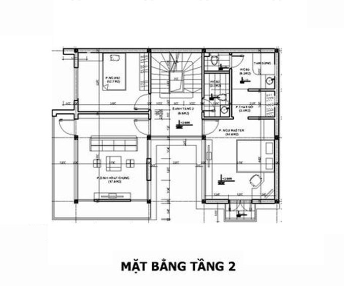 Mặt bằng tầng 2-Biệt thự hiện đại 3 tầng 90m2.
