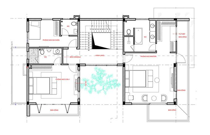 Mặt bằng tầng 2-Mẫu thiết kế biệt thự vườn 3 tầng đẹp.