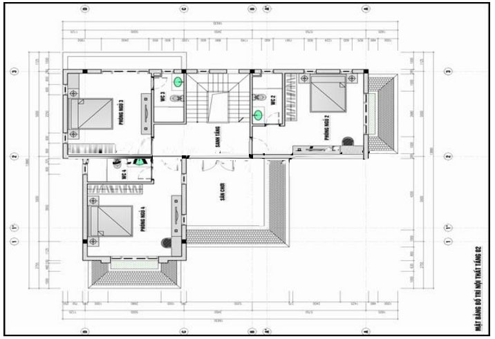 Mặt bằng tầng 2- Mẫu biệt thự phố đẹp 3 tầng bán cổ điển 11x14m