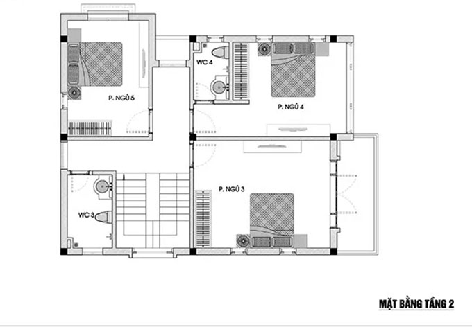 Mặt bằng tầng 2 mẫu thiết kế biệt thự mái thái 3 tầng.
