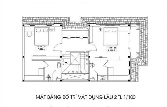 Mặt bằng tầng 3-Mẫu thiết kế biệt thự 3 tầng mặt tiền 8m.