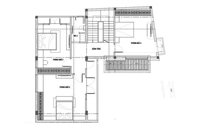 Mặt bằng tầng 2-Mẫu thiết kế biệt thự 3 tầng chữ L.