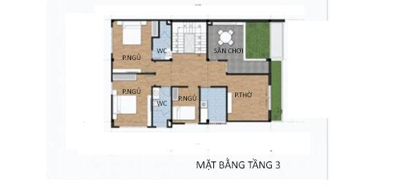 Mặt bằng tầng 3 biệt thự 3 tầng hiện đại đẹp