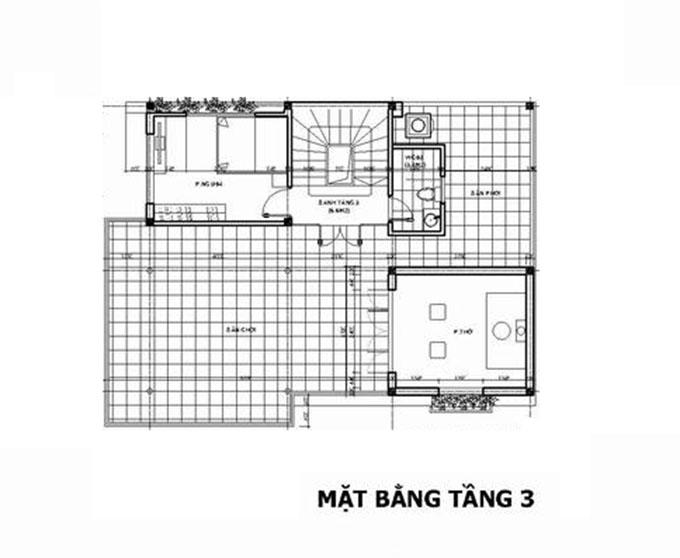 Mặt bằng tầng 3-Biệt thự hiện đại 3 tầng 90m2.