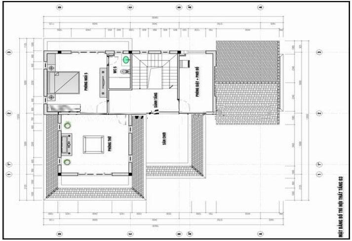 Mặt bằng tầng 3- Mẫu biệt thự phố đẹp 3 tầng bán cổ điển 11x14m