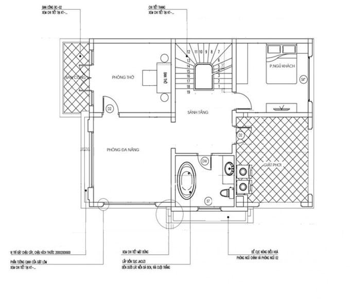 Mặt bằng tầng 3-Mẫu thiết kế biệt thự mặt tiền 10m.