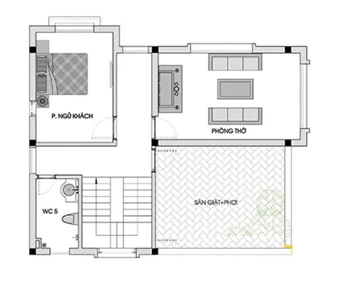 Mặt bằng tầng 3 mẫu thiết kế biệt thự mái thái 3 tầng.